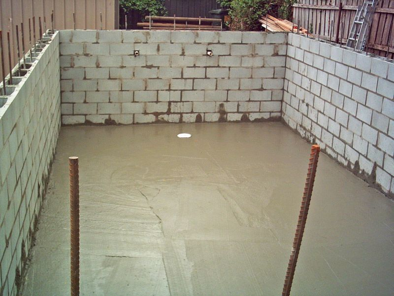 Island block paving concrete building blocks tasmania - Cinder block swimming pool construction ...